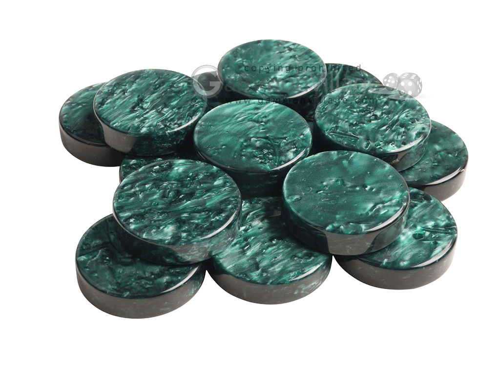 Backgammon Checkers - Grizzly Acrylic - Green (1 5/16 in. Dia.) - Roll of 15