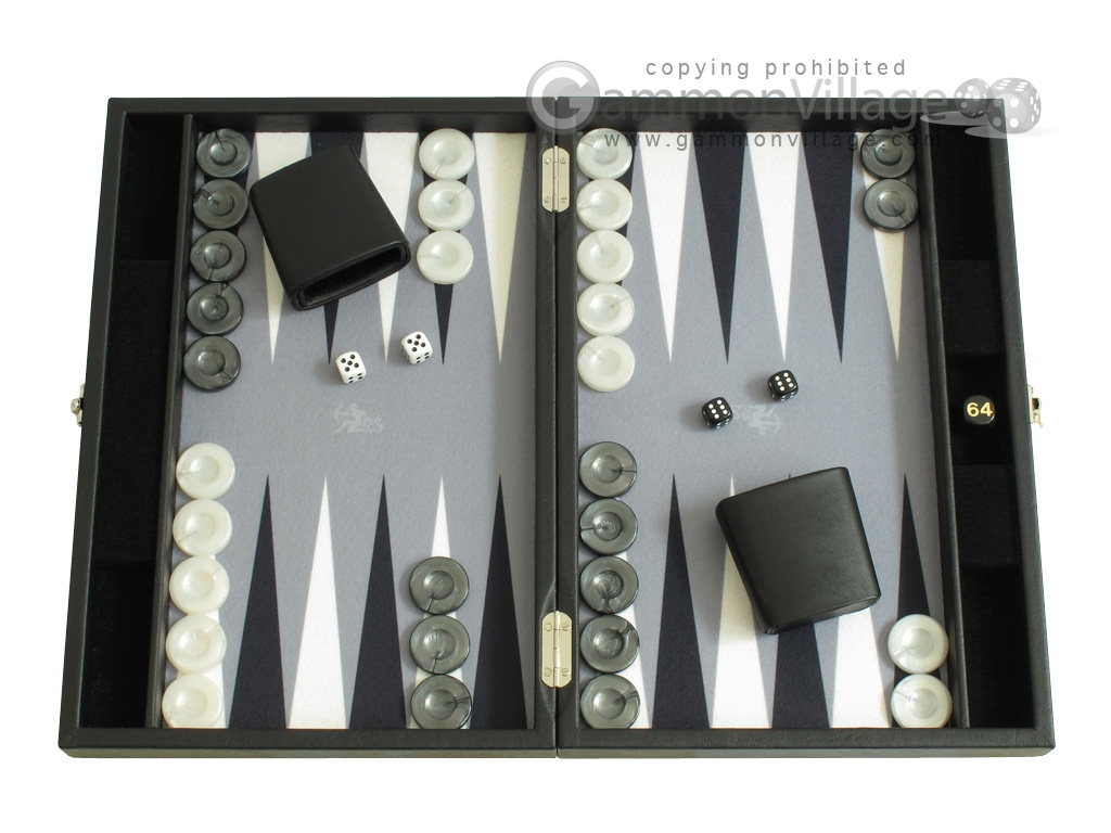 Hector Saxe Faux Leather Travel Backgammon Set - Grey Field