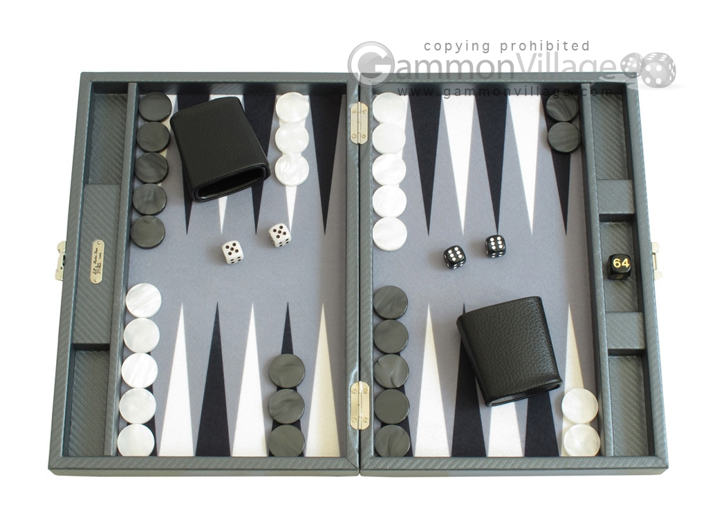 Hector Saxe Carbon Linen/Felt Travel Backgammon Set - Grey