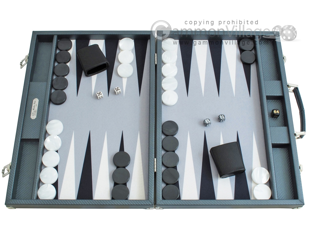 Hector Saxe Carbon Linen/Felt Backgammon Set - Grey