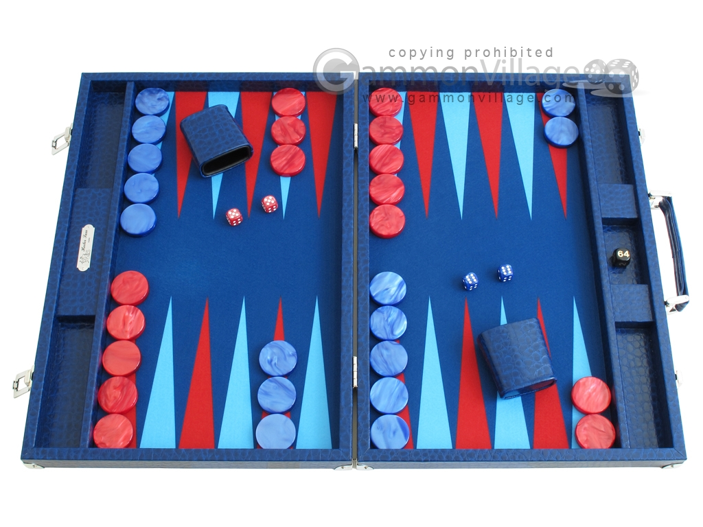 Hector Saxe Faux Lizard Backgammon Set - Blue