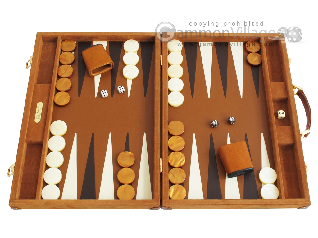 Hector Saxe Suede Leather Backgammon Set - Havana