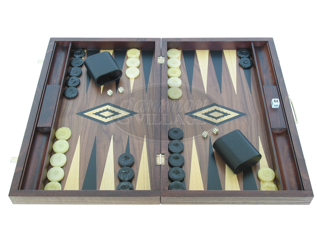 Walnut Backgammon Set - Large - Stained Black