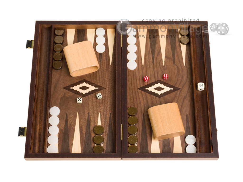 15-inch Walnut Backgammon Set - Brown
