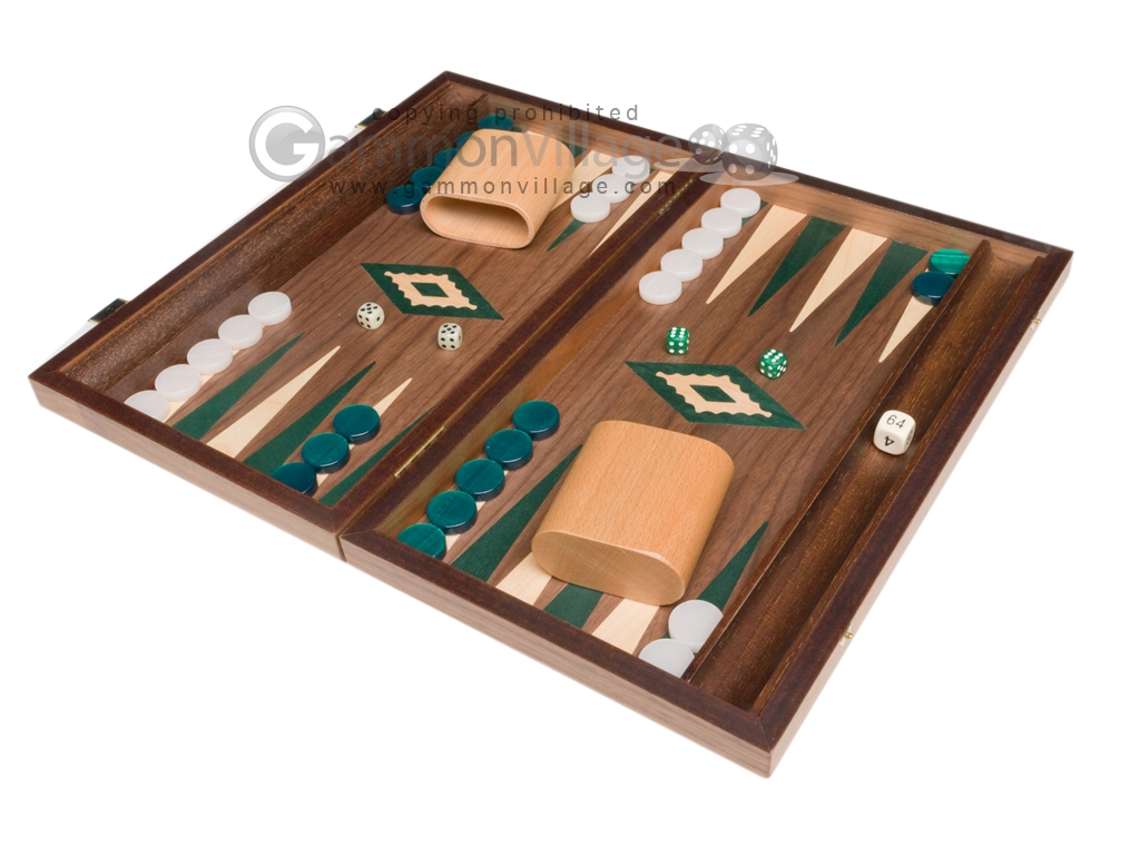 15-inch Walnut Backgammon Set - Green