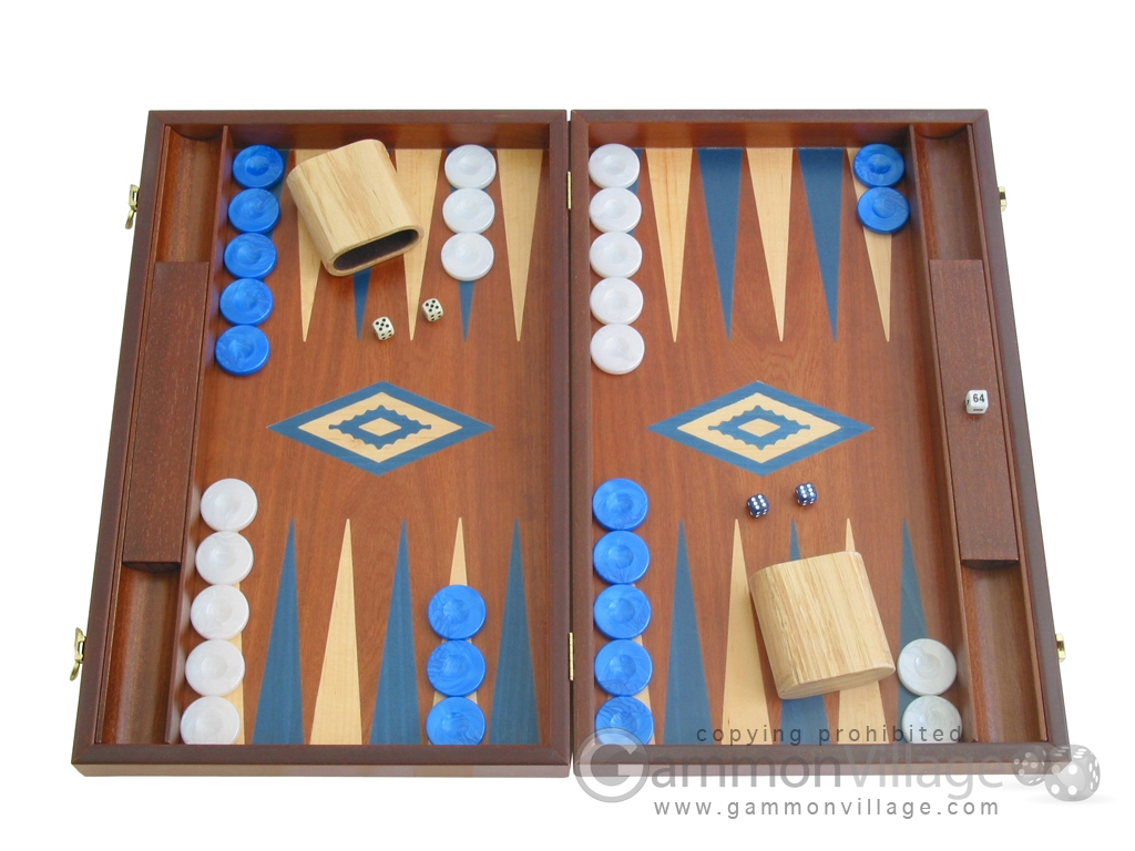 19-inch Mahogany Backgammon Set - Blue