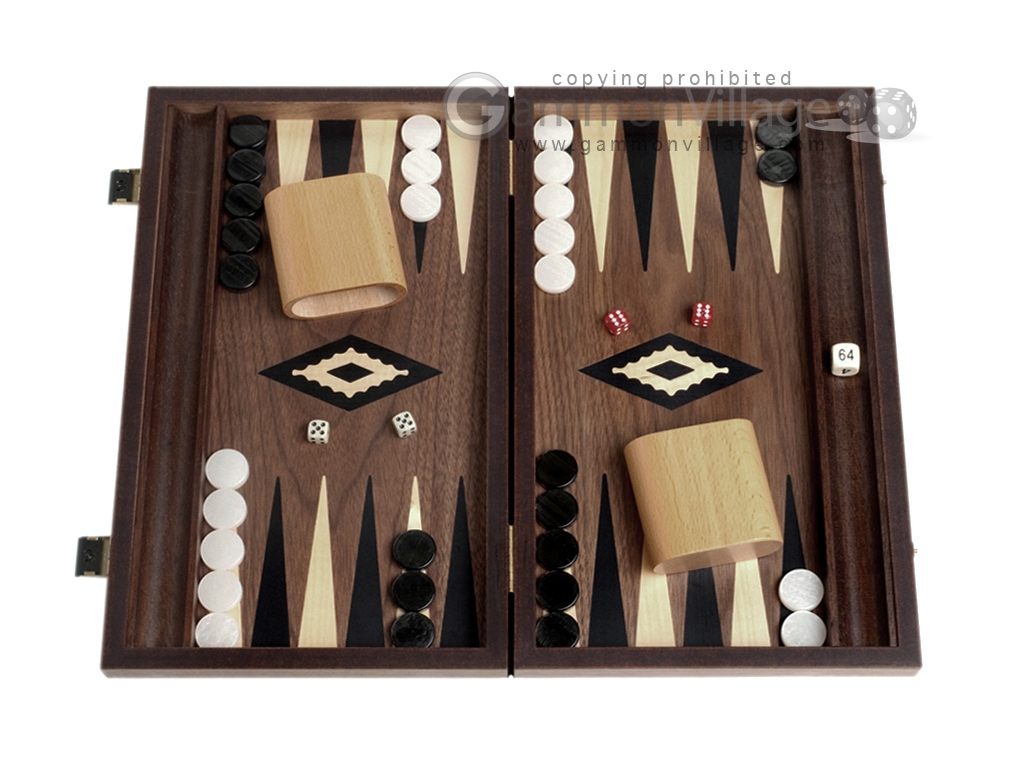 15-inch Ebony Zebrano Backgammon Set - Walnut Field