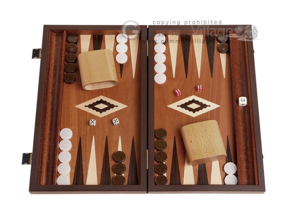 15-inch Wenge Backgammon Set - Mahogany Field