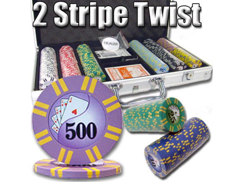8gram Stripe Twist Clay Poker Chips - Aluminum Case - Silver - 300 Chips