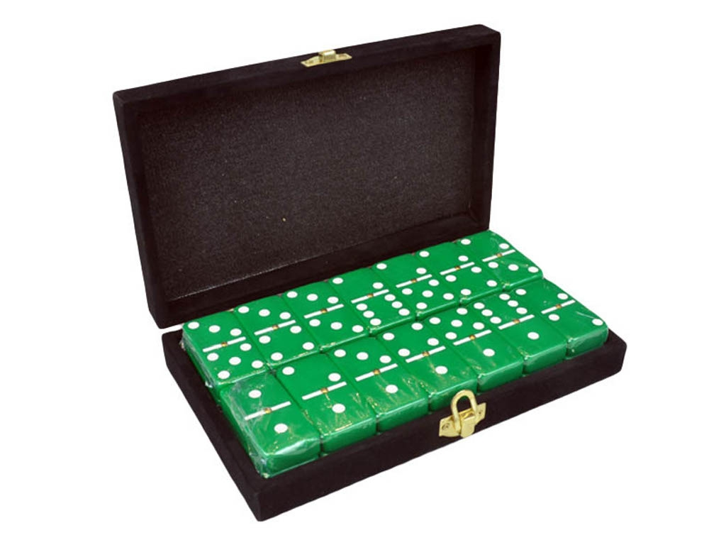 DOUBLE 6 Green Dominoes Set - With Spinners - Velvet Box