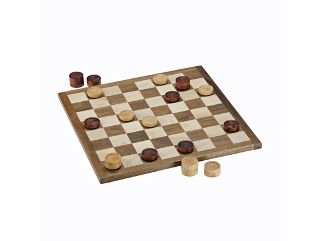 Classic Checkers Set - Dark Brown & Natural Pieces with Solid Walnut & Maple Wood Board 11.5 in. (Made in USA)