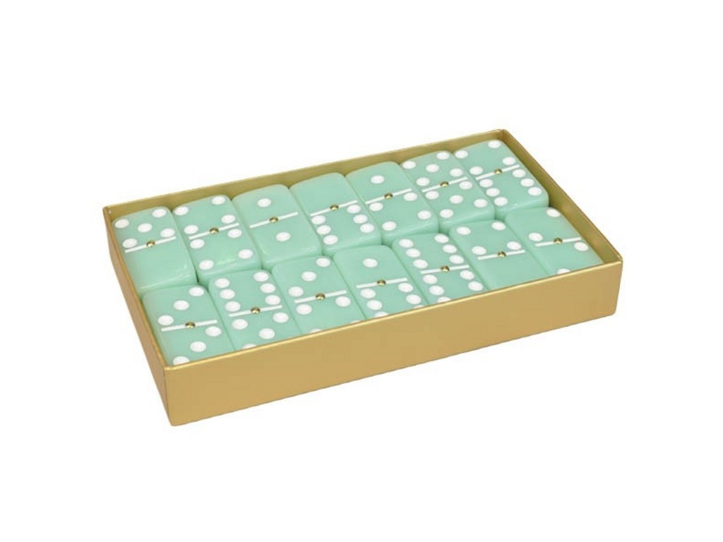 DOUBLE 6 Frosted Green Jade Stone Dominoes Set - Gold Gift Box