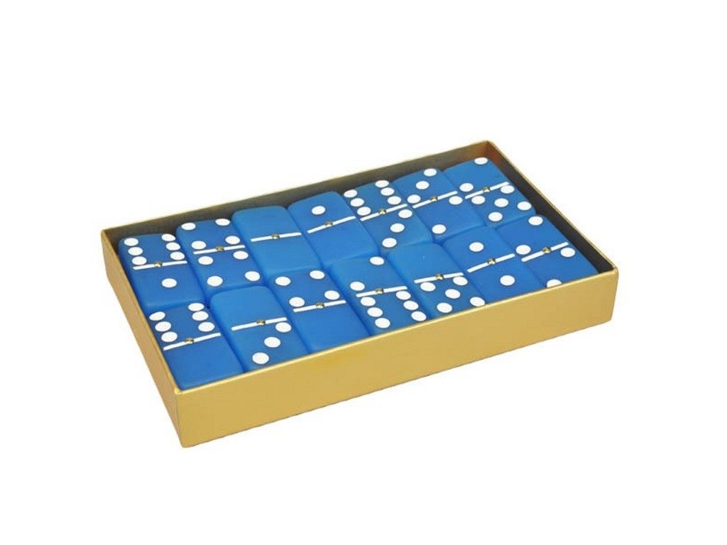 DOUBLE 6 Frosted Sapphire Blue Dominoes Set - Gold Gift Box