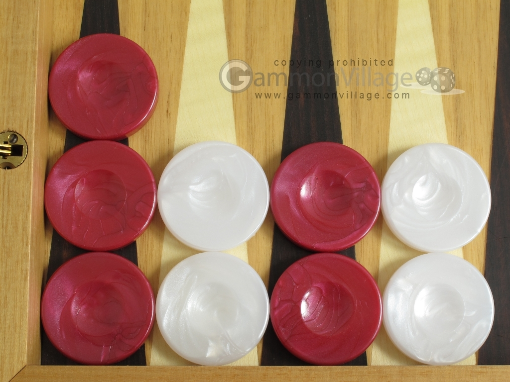Backgammon Checkers - High Gloss Marbleized Plastic - Red (1 in. Dia.) - Set of 30