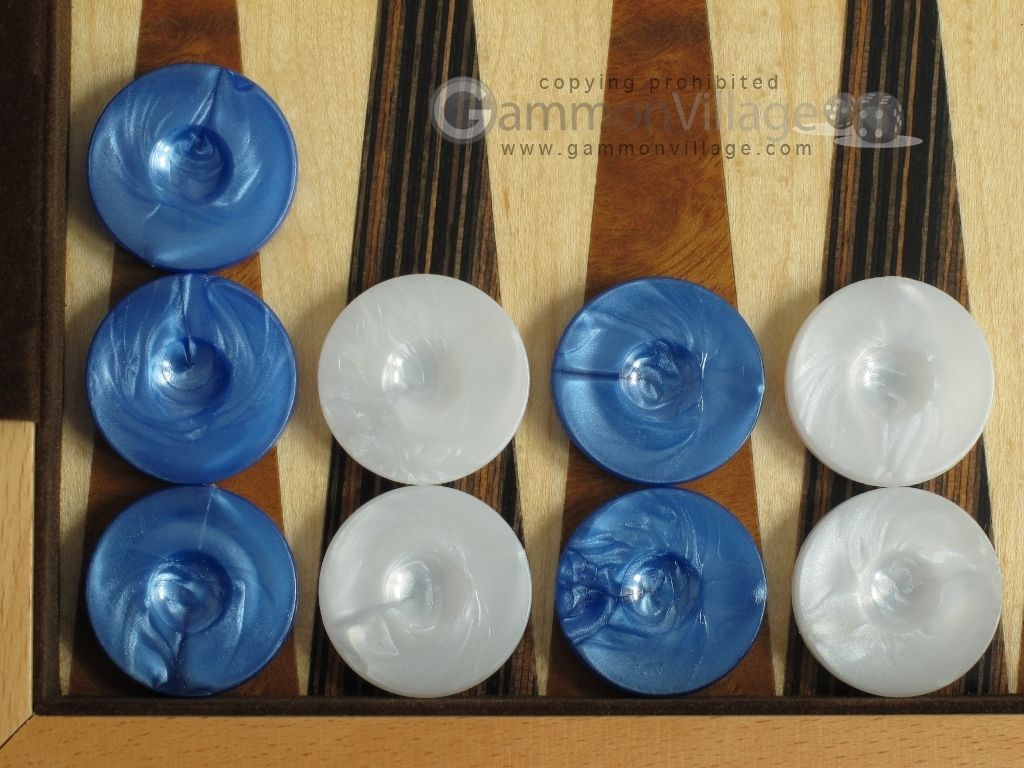Backgammon Checkers - High Gloss Marbleized Plastic - Blue (1 in. Dia.) - Set of 30