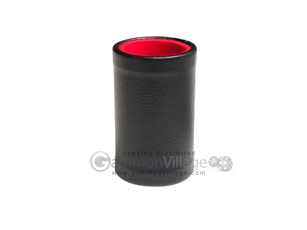 Black Leatherette Backgammon Dice Cup - Red Interior with Trip Lip