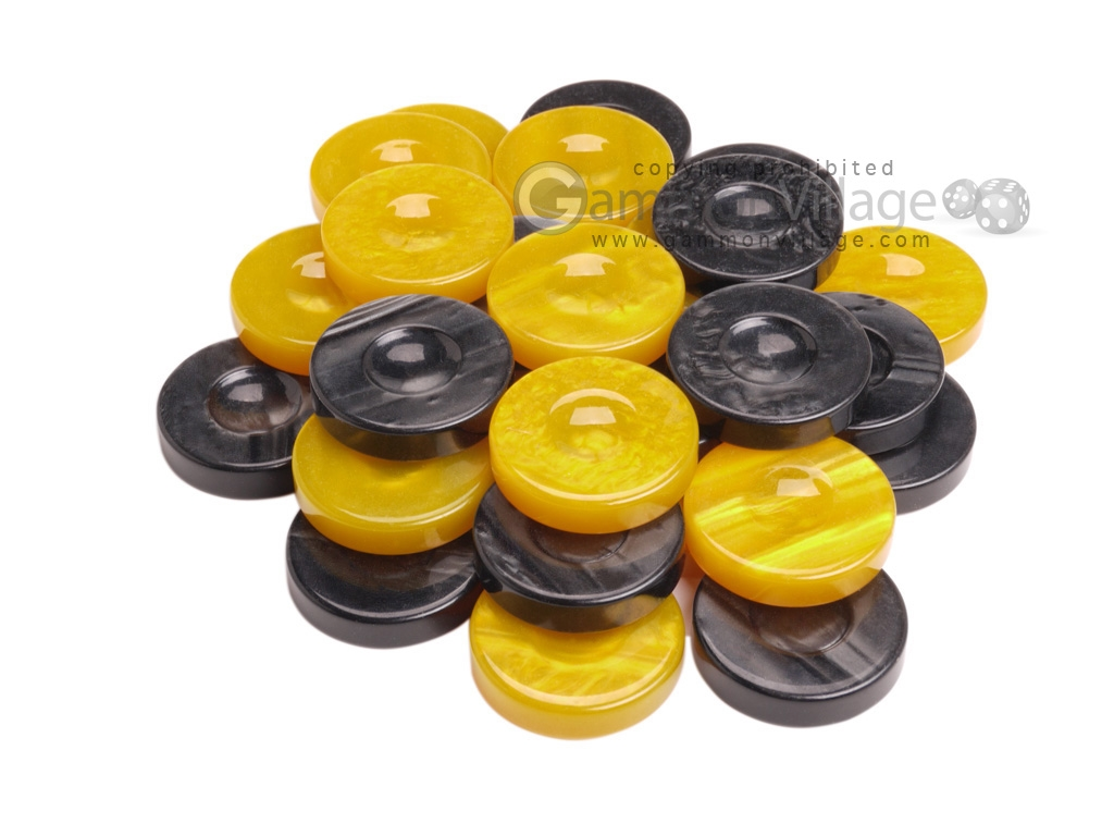 Backgammon Checkers - High Gloss Acrylic - Black & Yellow (1 1/2in. Dia.) - Set of 30