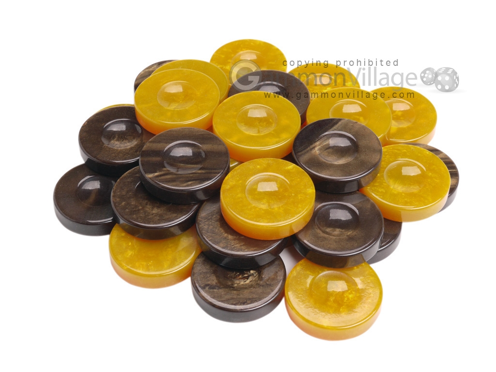 Backgammon Checkers - High Gloss Acrylic - Brown & Yellow (1 1/2in. Dia.) - Set of 30