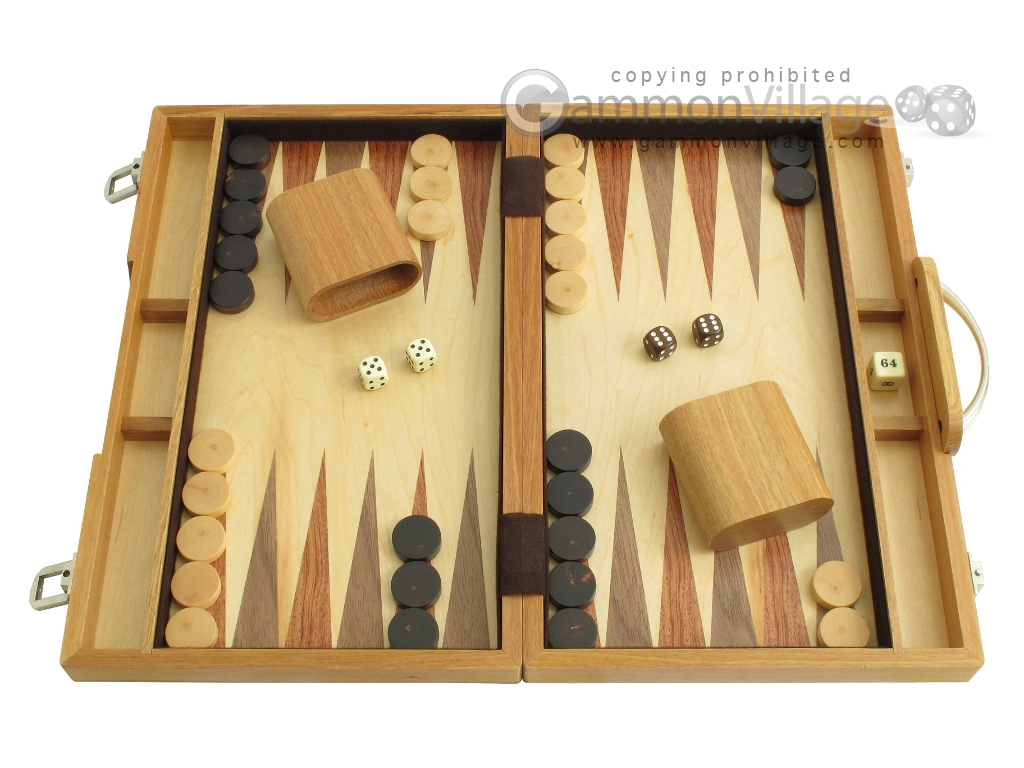 15-inch Wood Backgammon Set - Olive Wood