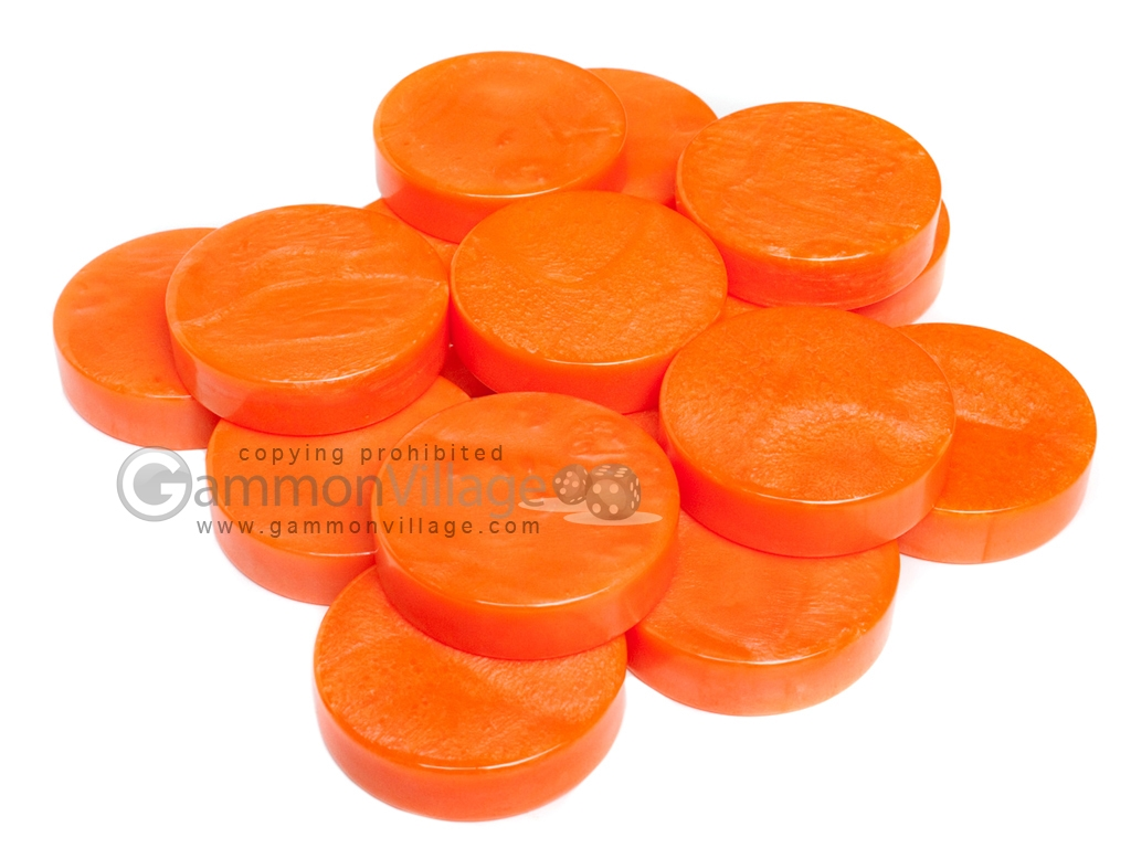 Backgammon Checkers - Mother Of Pearl - Plastic - Orange (1 1/2 in. Dia.) - Roll of 15