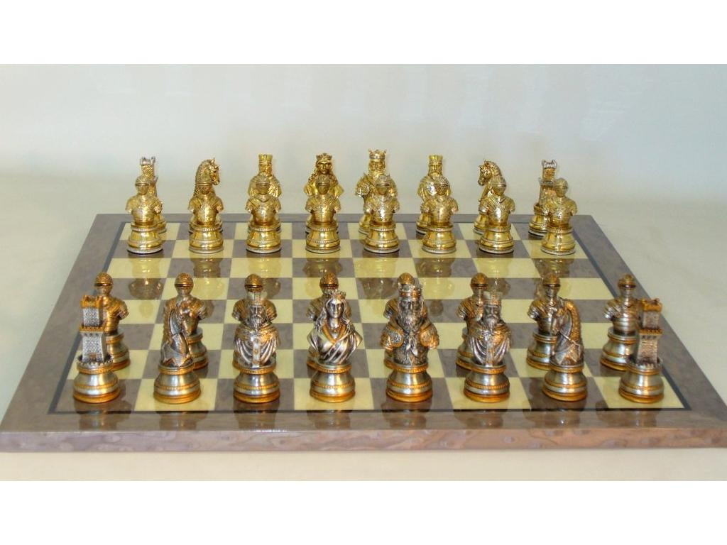 Chess Set Camelot Solid Pewter Metal Chessmen with Glossy Briar Wood Chess Board