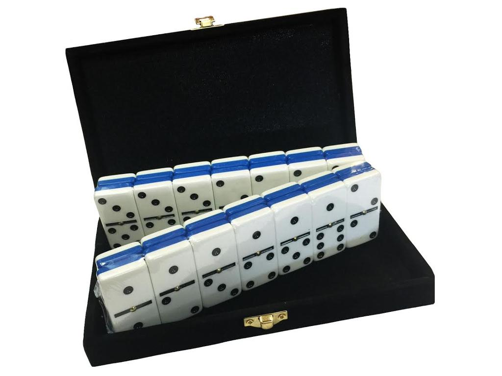 DOUBLE 6 Two-Tone Blue + White Dominoes Set - With Spinners - Velvet Box