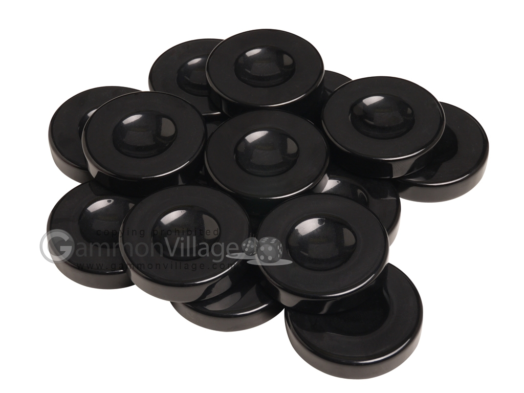 Backgammon Checkers - Opaque - Black - with Finger Dish - (1 3/4 in. Dia.) - Roll of 15
