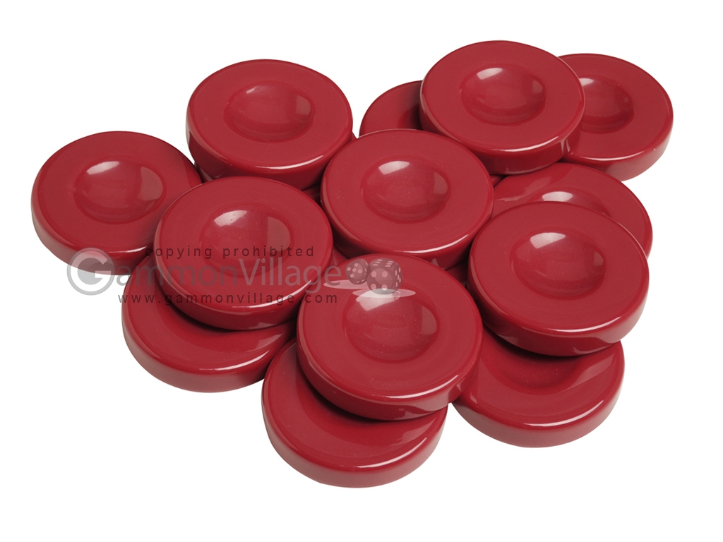 Backgammon Checkers - Opaque - Bordeaux - with Finger Dish - (1 3/4 in. Dia.) - Roll of 15