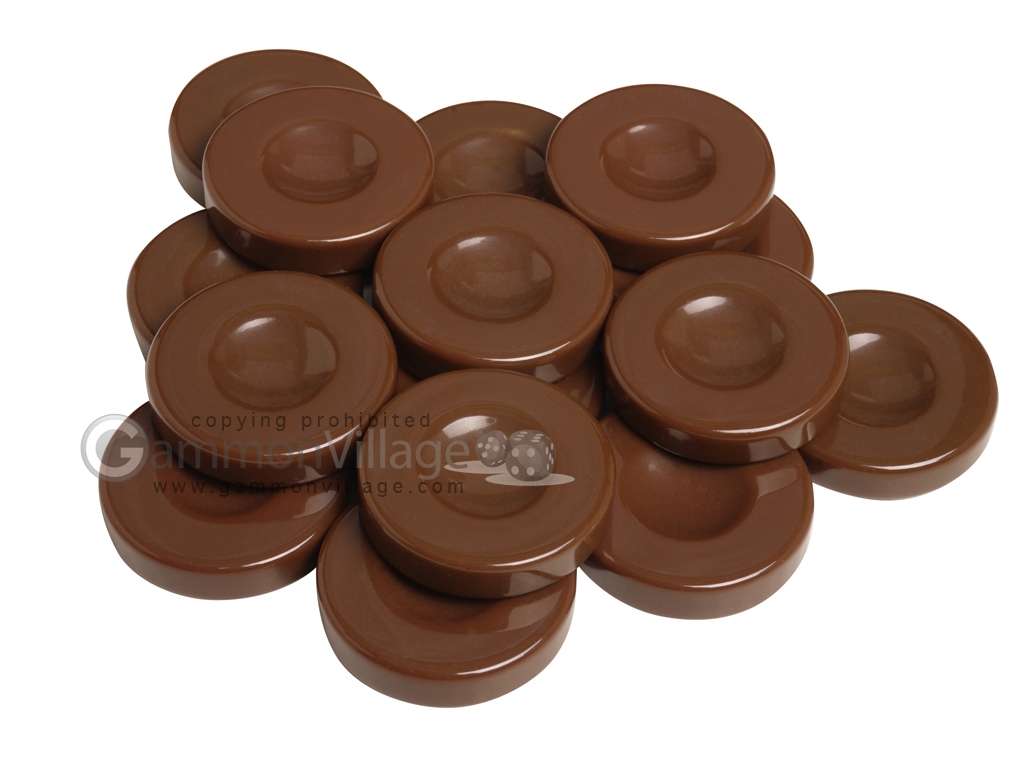 Backgammon Checkers - Opaque - Brown - with Finger Dish - (1 3/4 in. Dia.) - Roll of 15