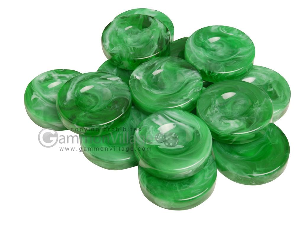 Backgammon Checkers - Marbleized - Green - with Finger Dish - (1 3/4 in. Dia.) - Roll of 15