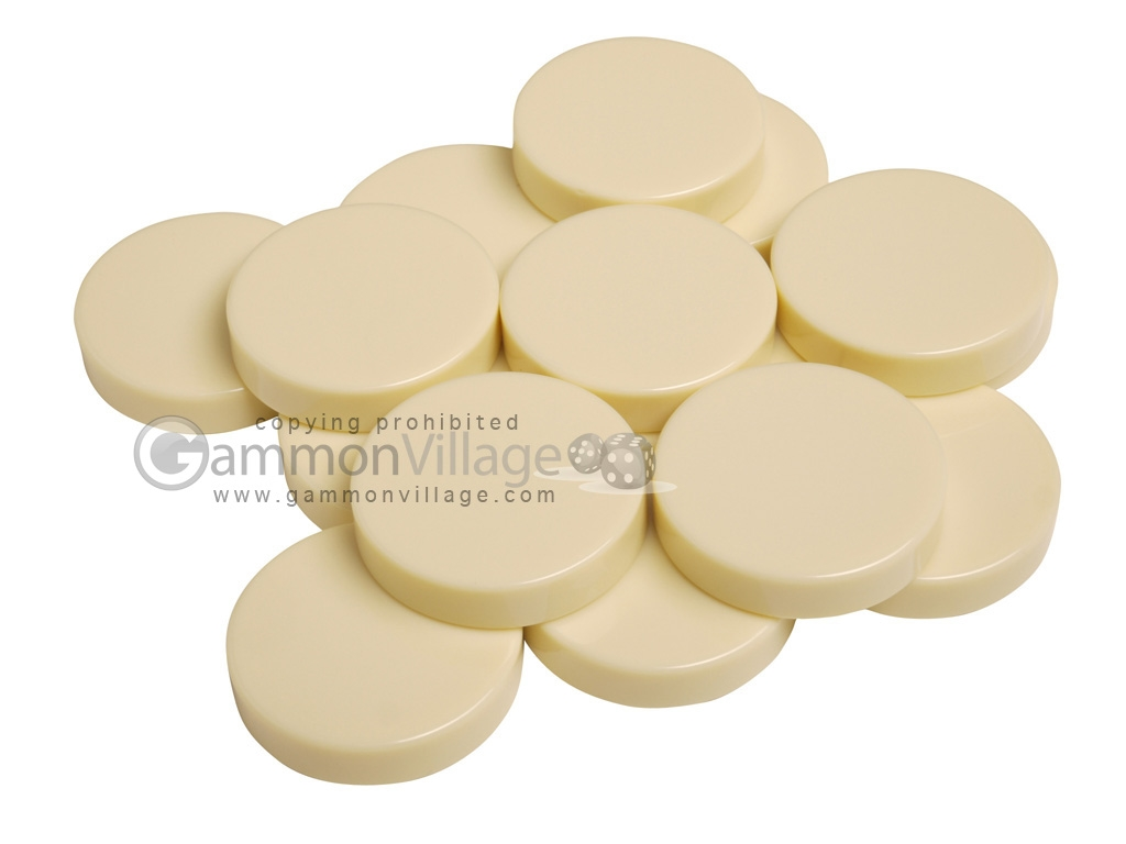 Backgammon Checkers - Opaque - Ivory - (1 3/4 in. Dia.) - Roll of 15
