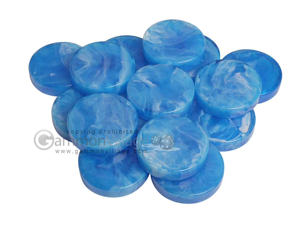 Backgammon Checkers - Marbleized - Light Blue - (1 3/4 in. Dia.) - Roll of 15