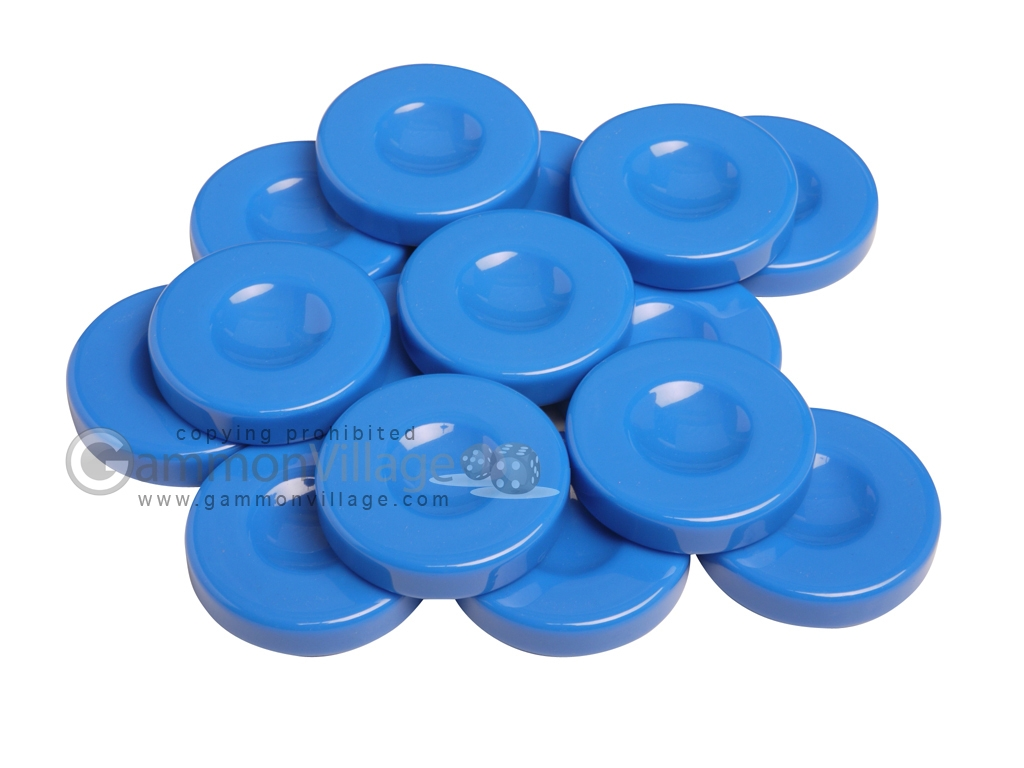 Backgammon Checkers - Opaque - Light Blue - with Finger Dish - (1 3/4 in. Dia.) - Roll of 15