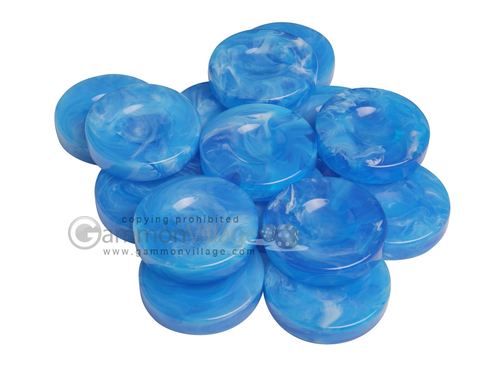 Backgammon Checkers - Marbleized - Light Blue - with Finger Dish - (1 3/4 in. Dia.) - Roll of 15
