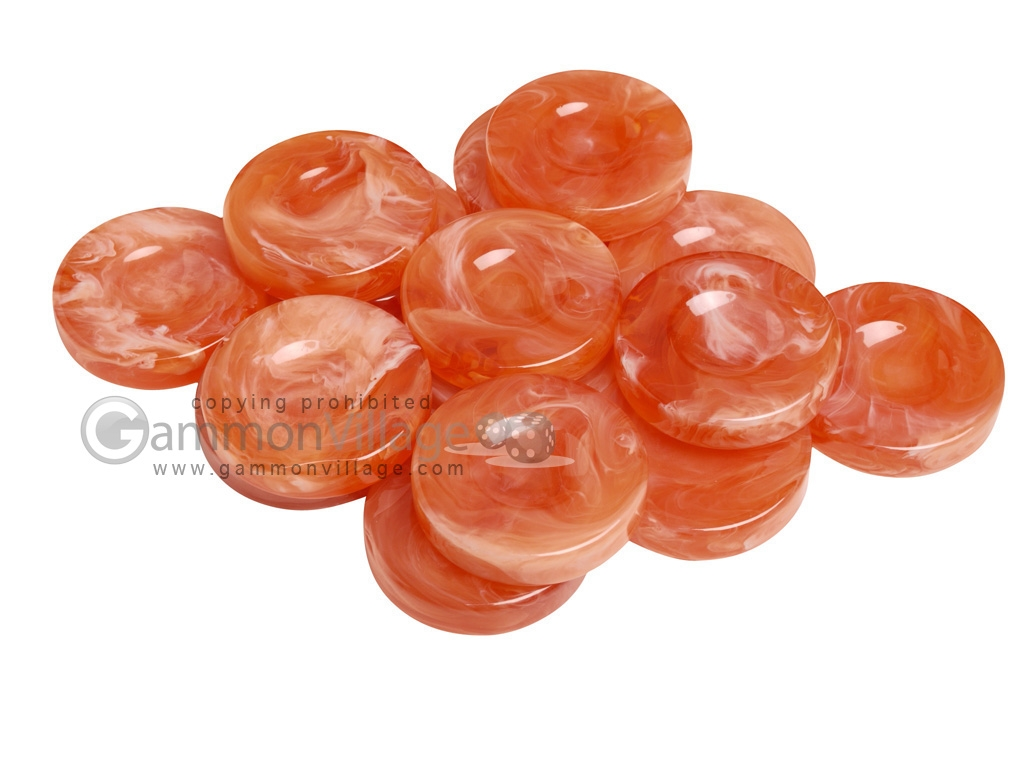 Backgammon Checkers - Marbleized - Orange - with Finger Dish - (1 3/4 in. Dia.) - Roll of 15
