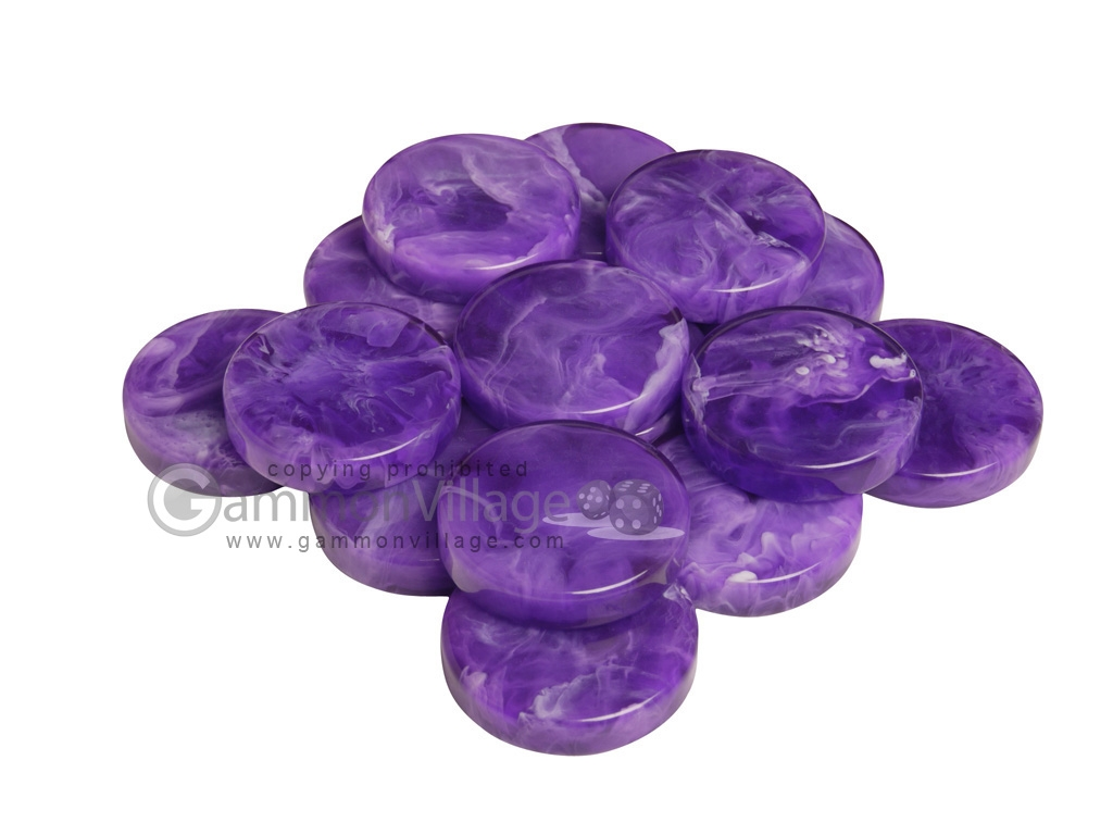 Backgammon Checkers - Marbleized - Purple - (1 3/4 in. Dia.) - Roll of 15