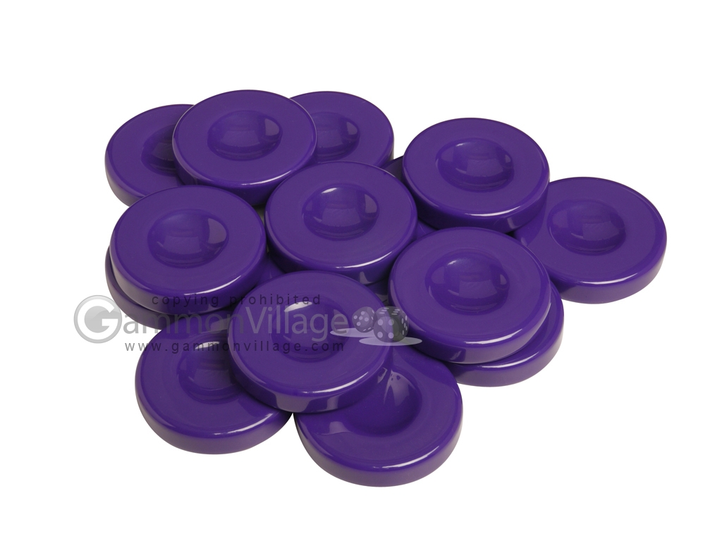 Backgammon Checkers - Opaque - Purple - with Finger Dish - (1 3/4 in. Dia.) - Roll of 15