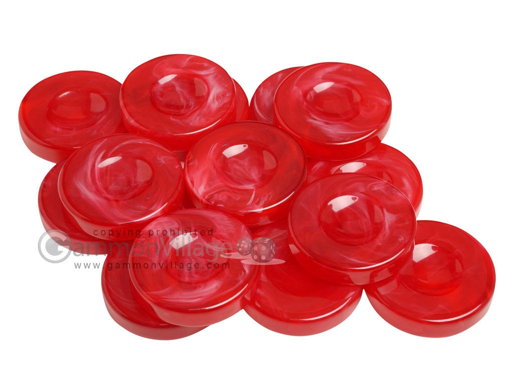 Backgammon Checkers - Marbleized - Red - with Finger Dish - (1 3/4 in. Dia.) - Roll of 15
