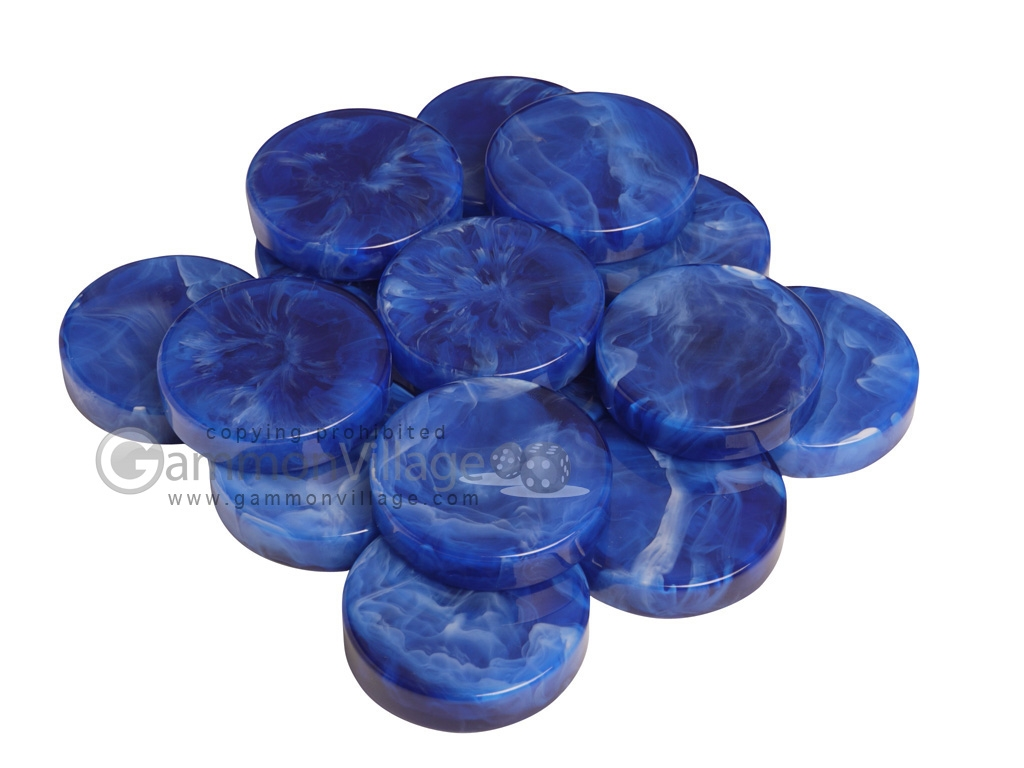 Backgammon Checkers - Marbleized - Royal Blue - (1 3/4 in. Dia.) - Roll of 15