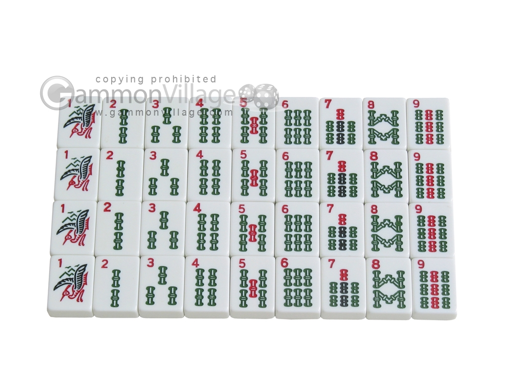 Mah Jong Tiles - White - 166 Tiles + 2 Black Trays