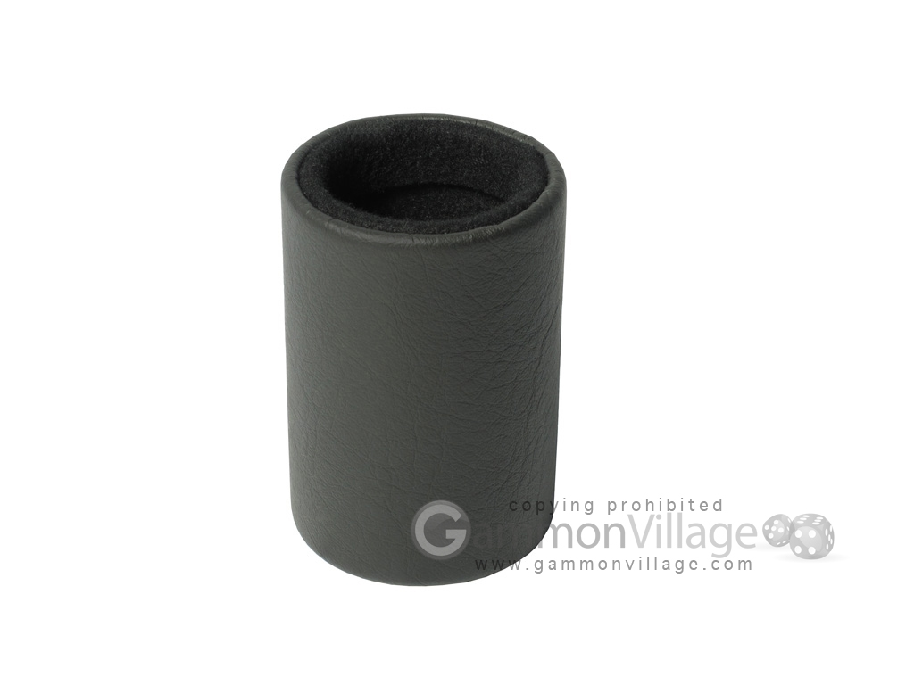 Professional Leather Backgammon Dice Cup - Round - Black Felt