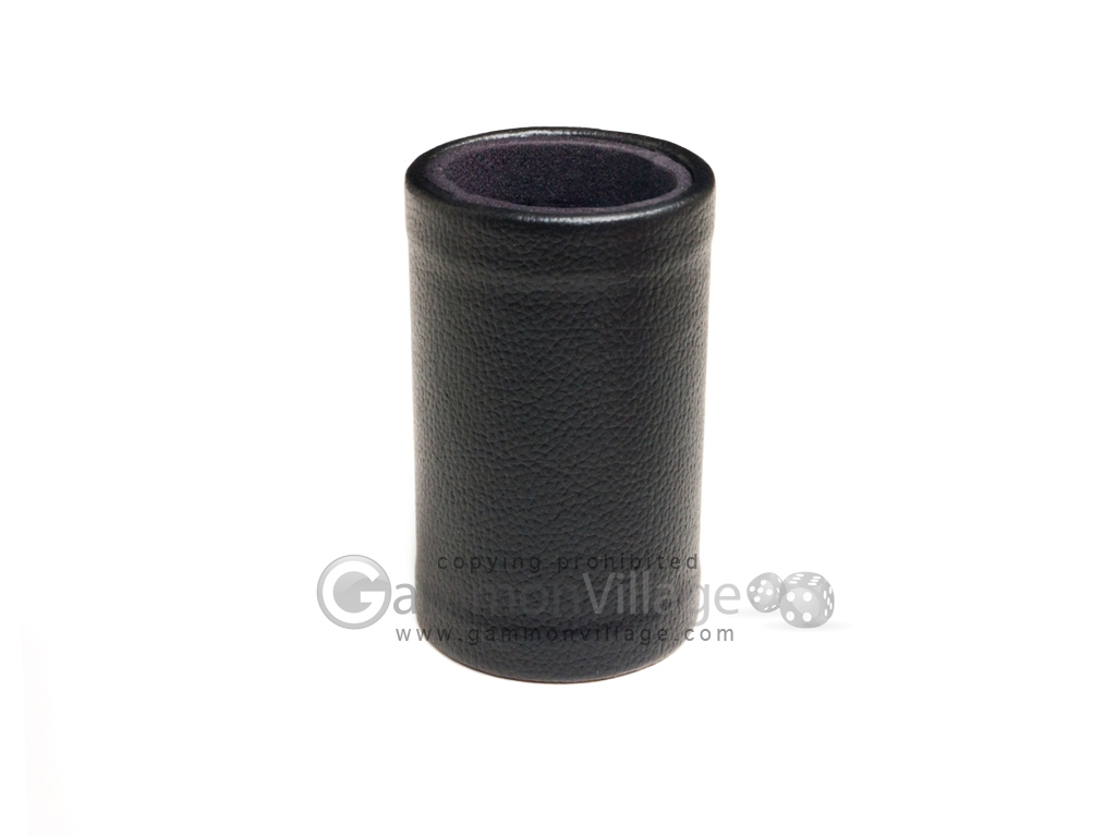 Black Leatherette Backgammon Dice Cup - Black Interior with Trip Lip