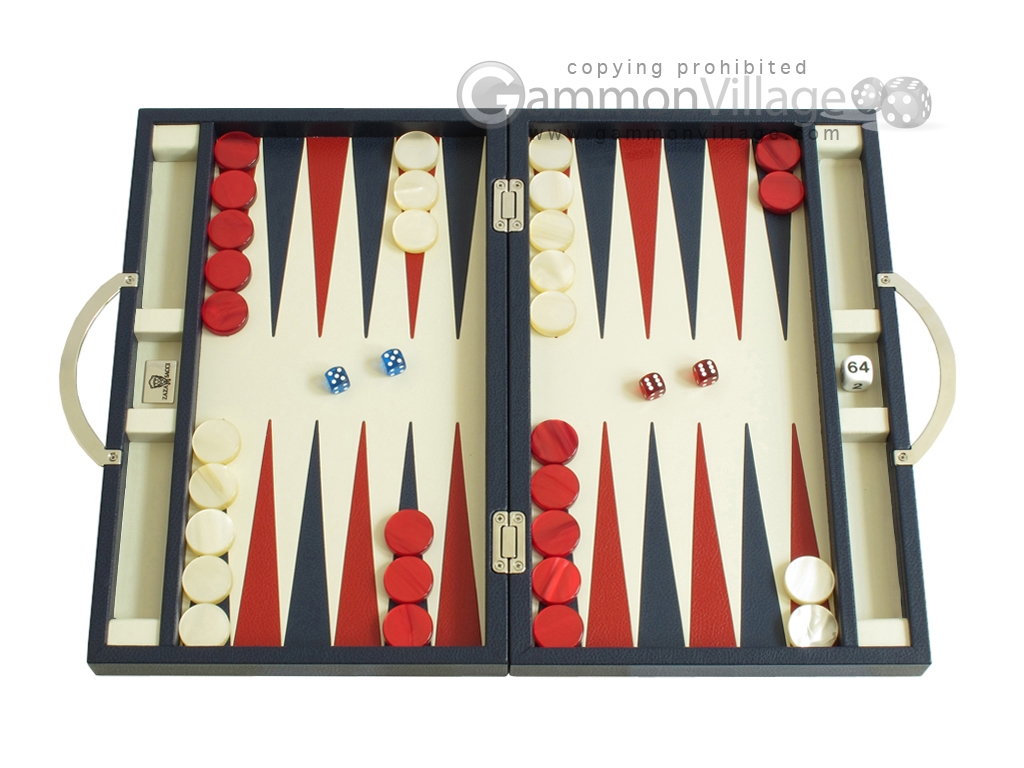 Zaza & Sacci Leather Backgammon Set - Model ZS-200 - Travel - Blue
