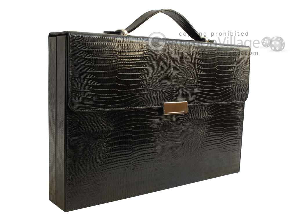 Zaza & Sacci Leather Backgammon Set - Model ZS-242 - Travel - Black Lizard