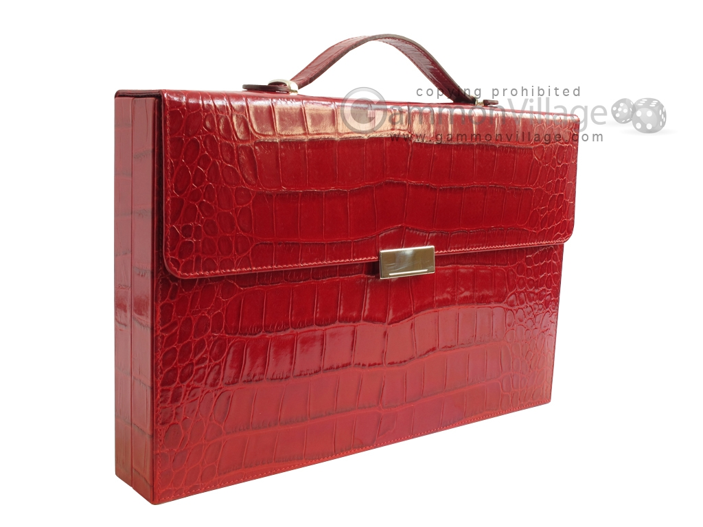 Zaza & Sacci Leather Backgammon Set - Model ZS-242 - Travel - Red Croco