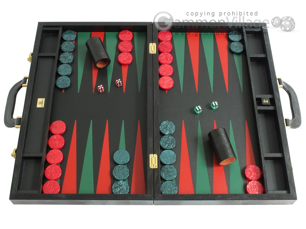 Zaza & Sacci Leather Backgammon Set - Model ZS-612 - Large - Black Lizard II