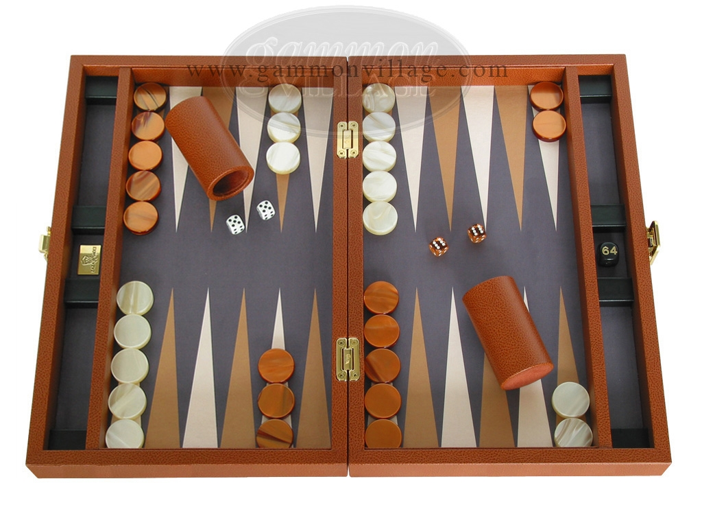 Zaza & Sacci Leather/Microfiber Backgammon Set - Model ZS-305 - Small - Brown