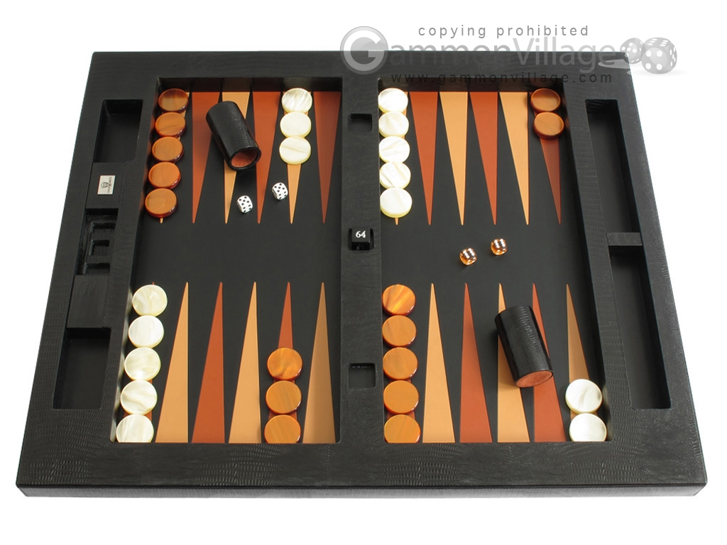 Zaza & Sacci Leather Table Top Backgammon Set - Black Lizard