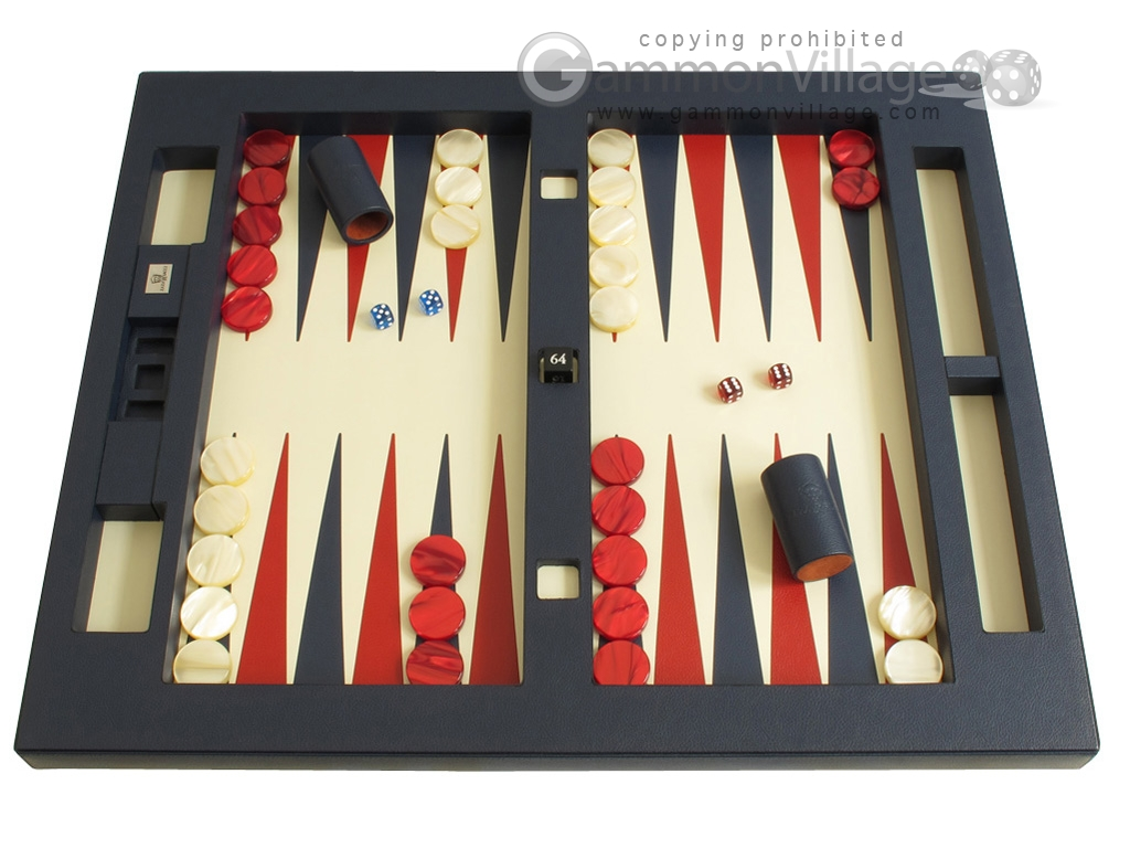 Zaza & Sacci Leather Table Top Backgammon Set - Blue