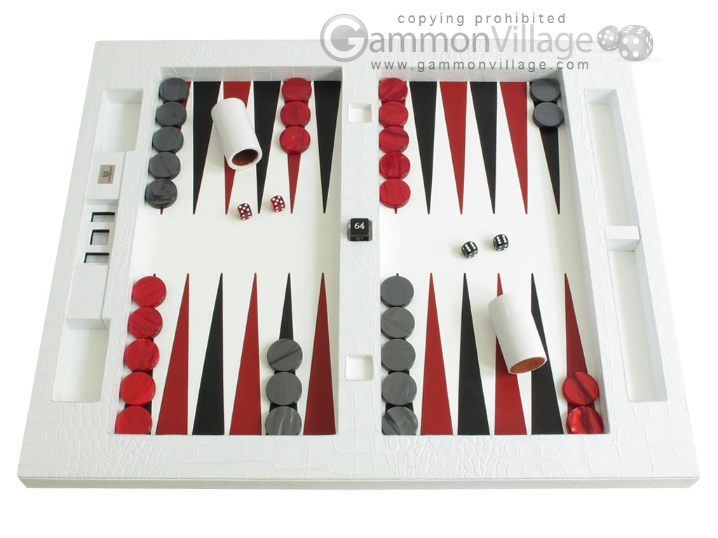 Zaza & Sacci Leather Table Top Backgammon Set - White Croco